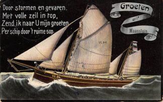Ansichtkaart Maassluis Groeten uit 1911 met visserschip VL 94 Vlaardingen HC17180