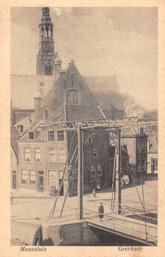 Ansichtkaart Maassluis Geerkade met brug en kerk HC17187