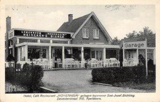 Ansichtkaart Apeldoorn Reclame Hotel Cafe Restaurant Hohenheim gelegen tegenover St. Jozef-Stichting Deventerstraat 510 1931 HC17224