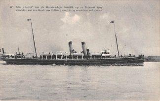 Ansichtkaart Hoek van Holland S.S. Berlin van de Harwich-Lijn hetwelk op 21 Februari 1907 strandde aan den Hoek van Holland, waarbij 129 menschen omkwamen Scheepvaart HC17368