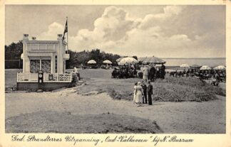 Ansichtkaart Naarden Bussum Ged. Strandterras Uitspanning Oud-Valkeveen 1936 IJsselmeer Zuiderzee HC17426
