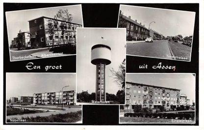 Ansichtkaart Assen Een groet uit 1961 Watertoren Troelstralaan Einsteinlaan Nobellaan Thorbeckelaan Alberdastraat HC17482