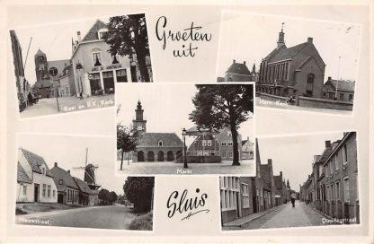 Ansichtkaart Sluis (ZL) Groeten uit 1952 Vijfluik Variant 1 Zeeuws-Vlaanderen HC17545