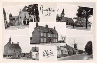 Ansichtkaart Sluis(ZL) Groeten uit 1952 Vijfluik Variant 2 Zeeuws-Vlaanderen HC17546