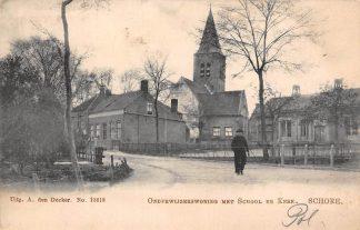 Ansichtkaart Schore Onderwijzerswoning met School en Kerk 1905 Kapelle Zuid-Beveland HC17551