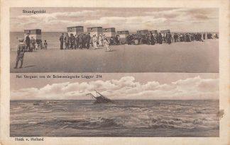 Ansichtkaart Hoek van Holland en Scheveningen Strand gezicht en Het vergaan van de Scheveningsche Logger 284 Vissers schip Scheepvaart 1918 Veldpost Filatelie HC17557
