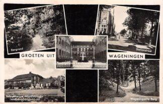Ansichtkaart Wageningen Groeten uit 1941 Bergrand Laboratorium Landbouwhoogeschool Stationstraat Berg HC17598