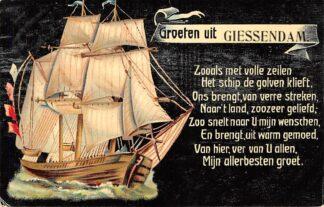 Ansichtkaart Hardinxveld-Giessendam Groeten uit Giessendam met zeilschip 1909 HC17641