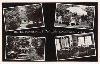 Ansichtkaart Garderen Hotel Pension 't Puntdak Oprijlaan Idyllisch zitje Interieur Veluwe 1950 HC17682