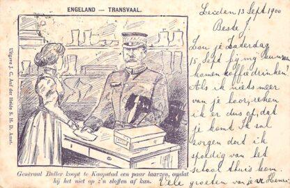 Ansichtkaart Zuid-Afrika Boerenoorlog 1900 Engeland - Transvaal Generaal Buller koopt te Kaapstad een paar laarzen, omdat hij het niet op zijn sloffen af kan Humor South Africa Afrika HC17690