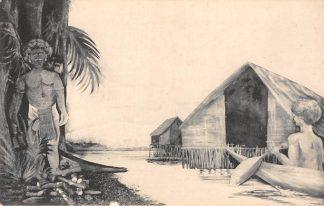 Ansichtkaart Nederlands-Indië Nieuw-Guinea Biak De inlevering en vernietiging van de afgodsbeelden Indonesië Azië HC17698