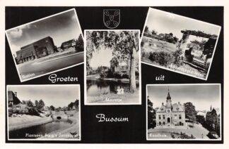 Ansichtkaart Bussum Groeten uit 1954 Station Mouwtje Bilderdijkplantsoen Plantsoen Burg. 's Jacoblaan Raadhuis HC17743