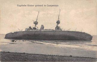 Ansichtkaart Camperduin Engelsche Kruiser gestrand 1923 Marine Scheepvaart Great Britain Engeland Zee en strand HC17784