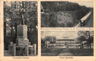 Ansichtkaart Soestdijk Christoffel Pullman Monument H.H. Koningin Moeder bij de spoorbaan te Baarn met trein Paleis Soestdijk HC17814