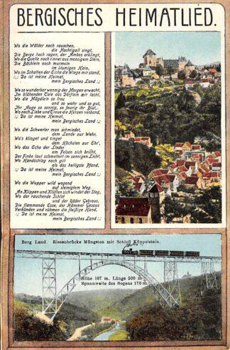 Ansichtkaart Duitsland Mungsten Bergisches Heimatslied Riesenbrucke mit Schloss Kuppelstein en trein Spoorwegen Deutschland Europa HC17831