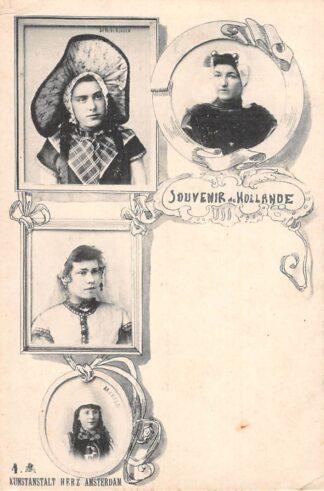 Ansichtkaart Klederdracht Souvenir de Hollande Scheveningen Marken Zeeland Klederdracht HC17834