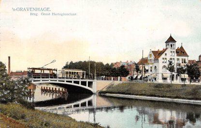 Ansichtkaart 's-Gravenhage Brug Groot Hertoginnelaan HTM Tram 1908 Den Haag HC17887
