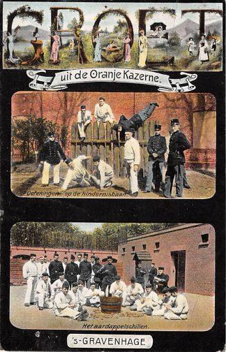 Ansichtkaart 's-Gravenhage Groet uit de Oranje Kazerne 1905 Oefeningen op de hindernisbaan Het aardappelschillen Militair Den Haag HC17907