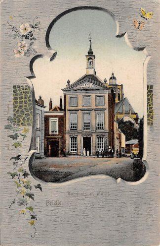 Ansichtkaart Brielle Raadhuis en Markt HC17910