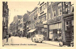 Ansichtkaart Zwolle Diezerstraat (Zwolle's hoofdstraat met auto BATA en Albert Heijn 1954 HC17931
