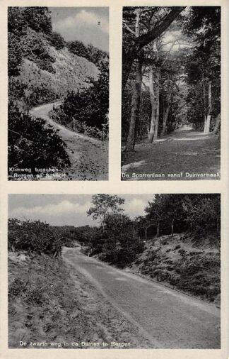 Ansichtkaart Bergen (NH) Klimweg tusschen Bergen en Schoorl De Sparrenlaan vanaf Duinvermaak De Zwarte weg in de duinen HC17977