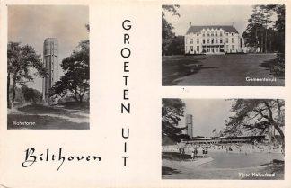 Ansichtkaart Bilthoven Watertoren Gemeentehuis en Vijver Natuurbad 1942 HC18058
