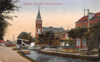 Ansichtkaart Zegveld Ned. Hervormde Kerk en Pastorie 1929 Woerden HC18076