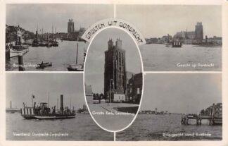 Ansichtkaart Dordrecht Groeten uit Binnenkalkhaven Veerdienst naar Zwijndrecht Riviergezicht vanaf Bomkade HC18175