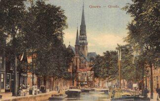 Ansichtkaart Gouda Gouwe Mooi ingekleurd! Binnenvaart schepen Scheepvaart 1918 HC18217