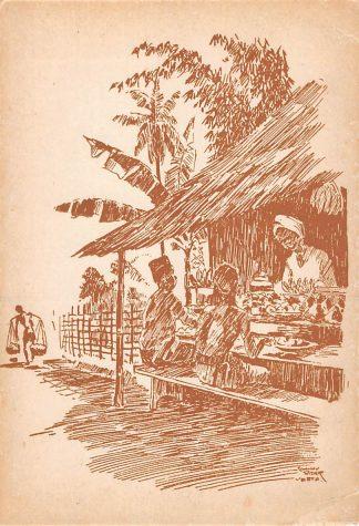 Ansichtkaart Nederlands-Indië Aan de maaltijd in de kampong Illustrator Johnny Rider Vesta Indonesië Indonesia Azië HC18239