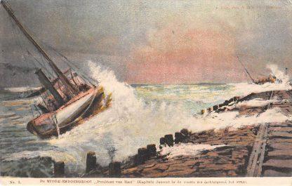 Ansichtkaart Hoek van Holland De Stoom reddingboot President van Heel (Kapitein Jansen) in de woest zee (achtergrond het wrak) Scheepvaart HC18254
