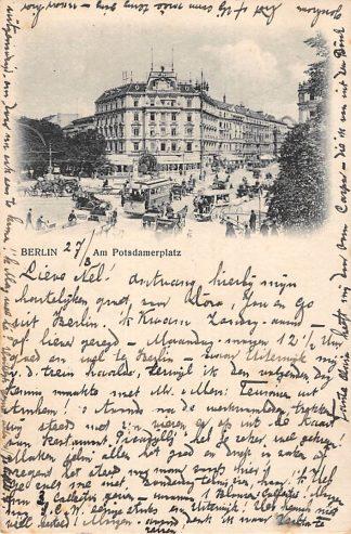Ansichtkaart Duitsland Berlin Am Potsdamerplatz Tram Auto Paard en wagen HC18282