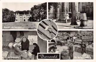 Ansichtkaart Barneveld Op de eiermarkt en kippenmarkt Kasteel de Schaffelaar Monument Veluwe 1955 HC18307