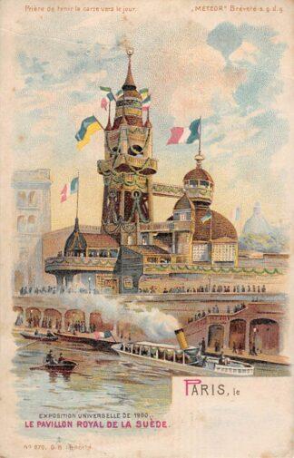 Ansichtkaart Frankrijk Paris Litho Exposition Universelle de 1900 Le Pavillon Royal de Suede Zweden France Sweden Europa HC18398