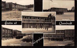 Ansichtkaart Ossendrecht Groeten uit Legerplaats 1958 Kazerne Legeringsgebouw Lesgebouw Wachtgebouw en Appelplaats HC18419