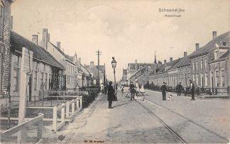 Ansichtkaart Schoondijke Weststraat met Bonds Hotel en Tram Station 1913 Sluis Zeeuws-Vlaanderen HC18468