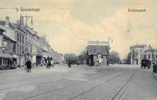 Ansichtkaart 's-Gravenhage Huijgenspark met tramhuis kruising Rijswijk Delft 1912 HC18473