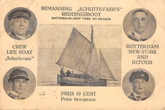 Ansichtkaart Texel Bemanning Schuttevaer's Reddingsboot Tocht Rotterdam - New York en retour 1928 SCheepvaart Schepen HC18523