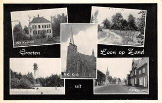 Ansichtkaart Loon op Zand Groeten uit 1966 Wit Kasteel Knijperij Televisie-Toren R.K. Kerk Kerkstraat HC18526