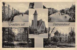 Ansichtkaart Veenendaal Groeten uit Prins Bernhardlaan Juliana Kerk Hoofdstraat Kasteel Prattenburg in het Bosch HC18527