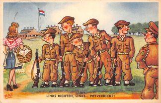 Ansichtkaart Militair Humor Links richten, links... potverdikke! 1952 Illustrator RAY HC18582