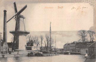 Ansichtkaart Delft Kooikade met molen en binnenvaart schepen HC18595