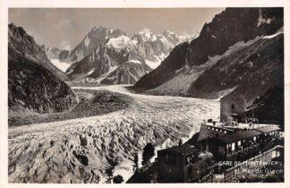 Ansichtkaart Zwitserland Gare de Montenvers et Mer de Glace Stoomtrein bij het station 1937 Spoorwegen Treinen Schweiz Switzerland Suisse Europa HC18636