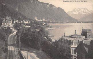 Ansichtkaart Zwitserland Territet et les Dents du Midi Montreux 1929 Spoorwegen Schweiz Switzerland Suisse Europa HC18642