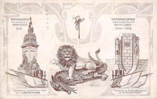 Ansichtkaart Den Haag Onafhankelijkheid 1813-1913 Monument Plein en Monument 1914-1918 Strandboulevard Scheveningen HC18661