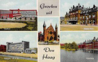 Ansichtkaart Den Haag Groeten uit met Stadhuis Gebouw K.L.M. Ridderzaal Station H.S. en Vijverberg HC18749