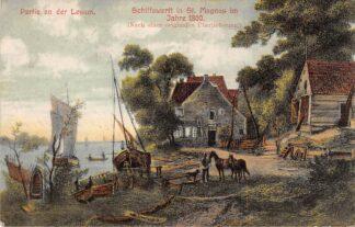 Ansichtkaart Duitsland Vegesack Bremen 1907 Partie an der Lesum Schiffswerft in St. Magnus im Jahre 1800 Deutschland Europa HC18805
