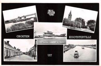 Ansichtkaart Kootstertille De eerste coaster te water Brug N.H. Kerk Kanaal Achtkarspelen 1966 HC18848