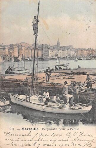 Ansichtkaart Frankrijk marseille Preparatif pour la Peche 1901 Visserij Scheepvaart France Europa HC18866