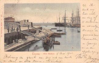 Ansichtkaart Italië Livorno Molo Mediceo 1901 Visserij Scheepvaart Italia Europa HC18883